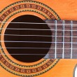 Guitar Soundhole, Bridge, and Fingerboard — 图库照片