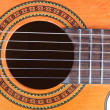 Foto Stock: Guitar Soundhole, Bridge, and Fingerboard