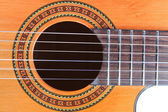 Guitar Soundhole, Bridge, and Fingerboard — Stock Photo