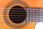 Schalloch der gitarre, brücke und griffbrett — Stockfoto
