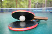 Rackets and ball — Stock Photo