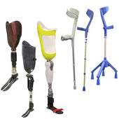 Artificial limbs and invalid walking sticks — Stock Photo