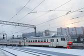Demiryoluna kış manzarası — Stok fotoğraf