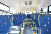 An Interior of modern city bus — Stock Photo