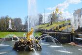 Grand Cascade Fountains At Peterhof Palace garden, St. Petersbur — Stock Photo