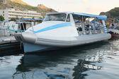 Motor boat stand at a berth — Stock Photo
