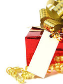 Gift with tag — Stock Photo