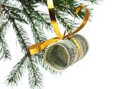 Dollars on christmas tree — Stock Photo