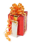 Red gift with blank tag — Foto Stock