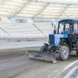 Grader to soccer fields — Stockfoto