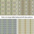 Vector set vintage background classical patterns - Stock Vector