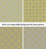 Vector set vintage background classical patterns — Stock Vector