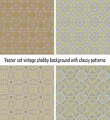 Vektor ställa in vintage bakgrund klassiska mönster — Stockvektor