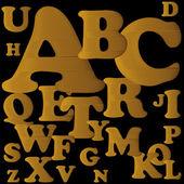 ゴールドのアルファベット。古いスタイルの装飾 — ストックベクタ