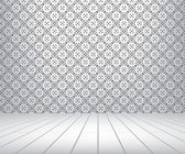 White room with pattern wall and wooden floor — Stock Photo