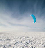 Kiteboarding or snow kite — Stock Photo