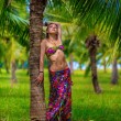 Girl with coconuts — Stock fotografie