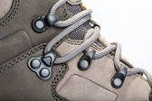 Laces on mountain boots — Foto Stock