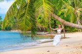 Girl on a tropical island — Zdjęcie stockowe
