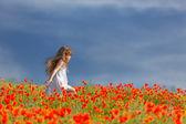 Little girl in a poppy field — Stock Photo
