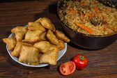Kazakh baursaks Central Asian cuisine — Stock Photo