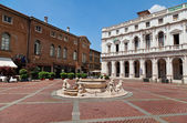 Old square of Bergamo, Lombardy, Italy — Stock Photo