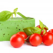 Stock Photo: Green cheese with basil and tomatoes