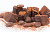 Cacao beans and chocolate — Stock Photo