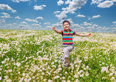 Happy boy with dandelions — Stock Photo