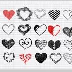 Hand-drawn hearts — Stock Vector