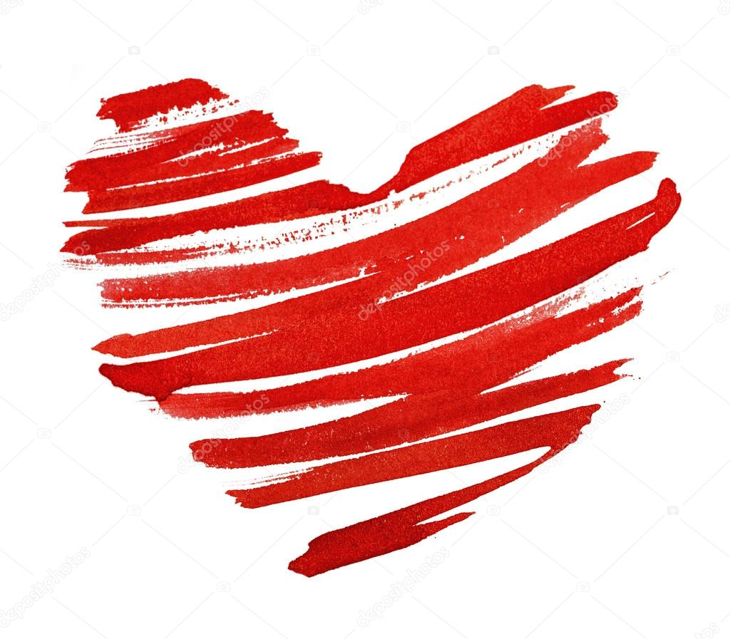 Red heart painted in watercolor on white background — Stock Photo #19811997