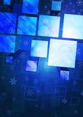 Fundo com flocos de neve e figuras geométricas — Vetorial Stock