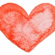 Stock Photo: Watercolor painted red heart