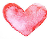 Watercolor painted red heart — Stock fotografie