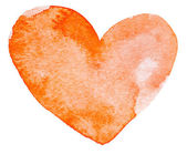 Watercolor painted red heart — Stock Photo