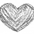 Hand drawn, crayon heart shape — Stock Photo