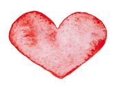Watercolor painted red heart — Foto Stock