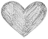 Hand drawn, crayon heart shape — Stockfoto