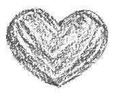 Hand drawn, crayon heart shape — Stock Photo