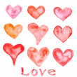 Watercolor painted red hearts — Stok Fotoğraf #41221573