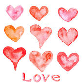 Watercolor painted red hearts — Stock Photo