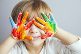Hands painted  in colorful paints — Stock Photo