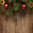 Old grunge wooden board  with Christmas border. — Stock Photo