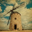 Retro image of Medieval Windmill.  Castilla La Mancha, Spain. — Stock Photo