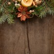 Christmas border on on wooden plank. — Stock Photo