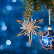 Christmas  decoration  with lights in the background. — Stock Photo