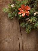 圣诞装饰品木制背景上 — 图库照片