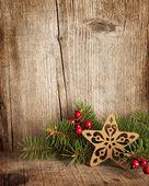 świąteczne dekoracje na drewniane deski. — Zdjęcie stockowe