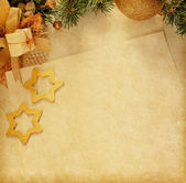 Christmas decoration with old paper . — Stock Photo