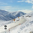 Road Through Snowy Mountains — Stok fotoğraf